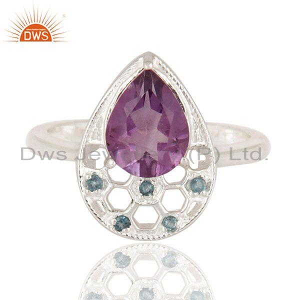 Exporter Natural Blue Topaz And Amethyst Gemstone 925 Sterling Silver Solitaire Ring