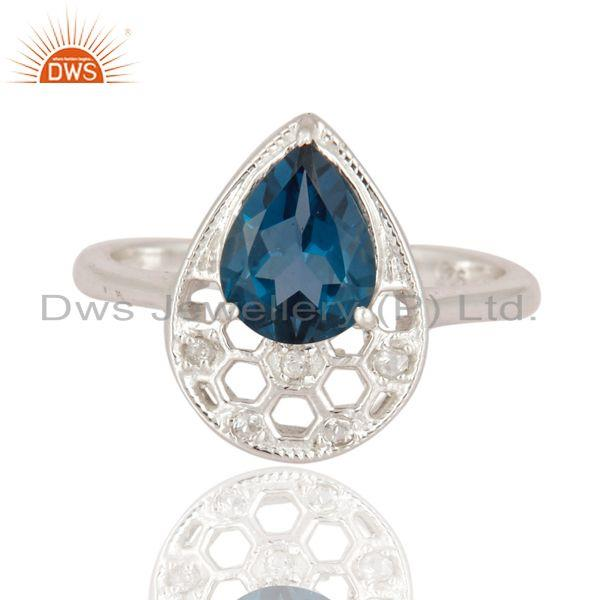 Exporter 925 Sterling Silver Blue Topaz Gemstone Solitaire Engagement Ring Jewelry Size 8