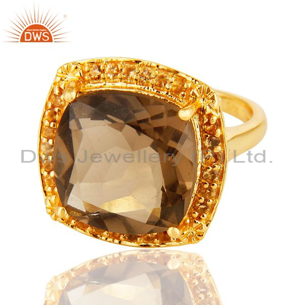Exporter 14K Yellow Gold Over Sterling Silver Citrine & Smoky Quartz Cushion Cut Ring