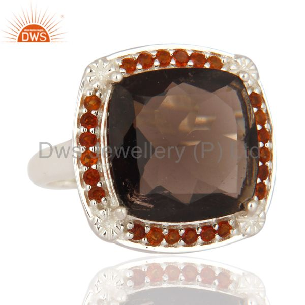 Exporter Genuine Cushion-Cut Smoky Quartz Gemstone Solid Sterling Silver Solitaire Ring