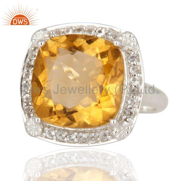 Exporter Natural Citrine Gemstone Cushion Shape Sterling Silver White Rhodium Plated Ring