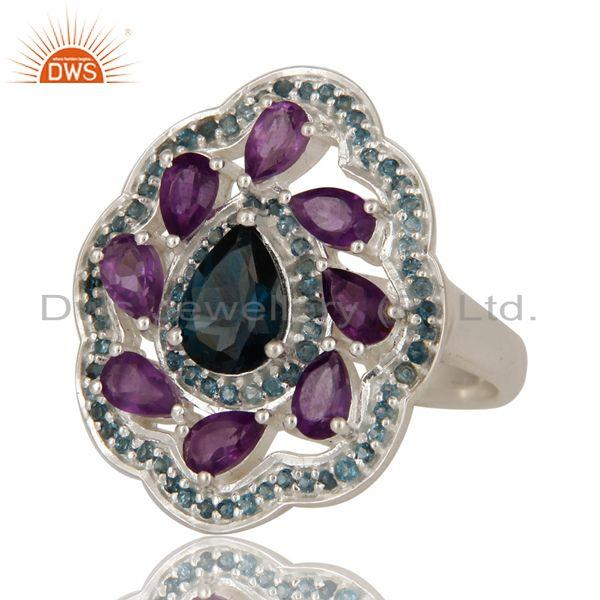 Exporter 925 Sterling Silver Amethyst And London Blue Topaz Cluster Cocktail Ring