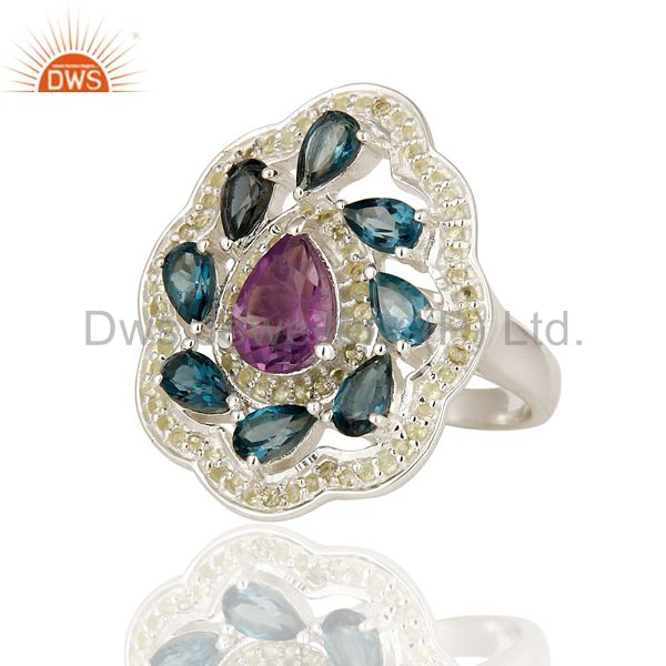 Exporter Natural Amethyst And Blue Topaz 925 Sterling Silver Cocktail Ring With Peridot