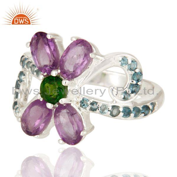 Exporter Blue Topaz, Amethyst And Chrome Diopside Sterling Silver Cocktail Cluster Ring