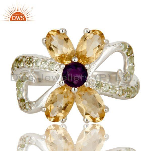 Exporter Citrine Amethyst and Peridot Sterling Silver Cocktail Cluster Ring