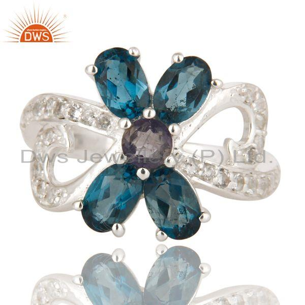 Exporter Iolite And Blue Topaz Sterling Silver Cluster Ring With White Topaz