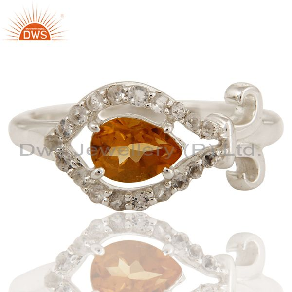 Exporter Natural Citrine Gemstone 925 Sterling Silver Womens Ring With White Topaz