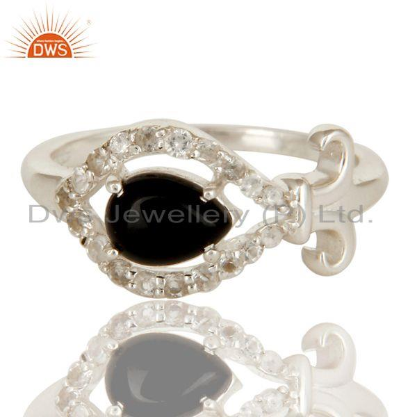 Exporter 925 Solid Sterling Silver Natural Black Onyx And White Topaz Designer Ring
