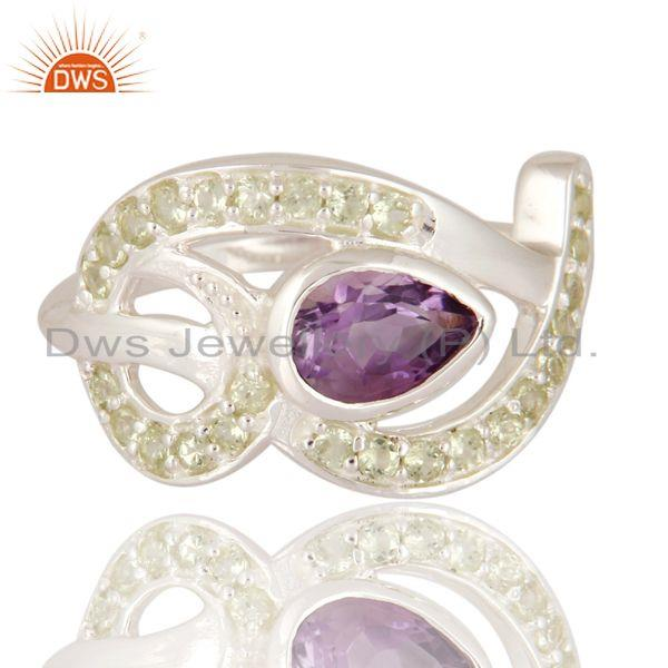 Exporter Genuine Amethyst Gemstone Solid 925 Sterling Silver Ring With Peridot