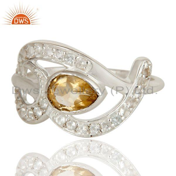 Exporter 925 Sterling Silver Citrine And White Topaz Gemstone Designer Ring