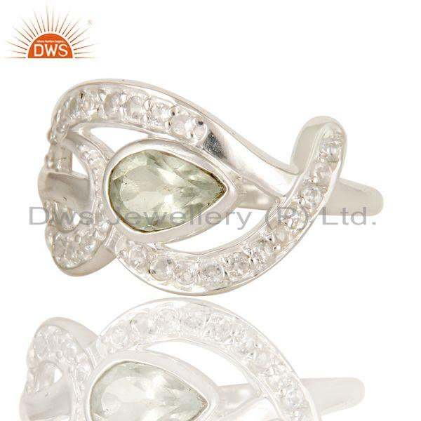 Exporter Designer Sterling Silver Green Amethyst And White Topaz Gemstone Dome Ring