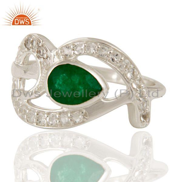 Exporter Green Aventurine Gemstone And White Sterling Silver Ring