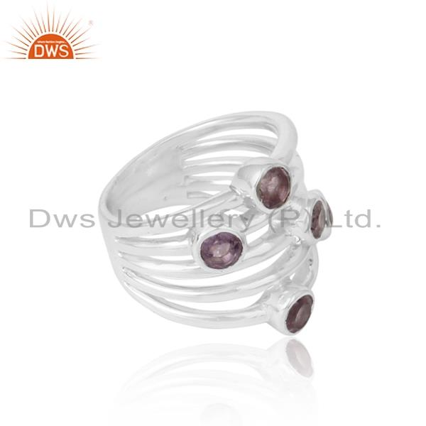 Handcrafted bold solid silver ring with natural amethyst
