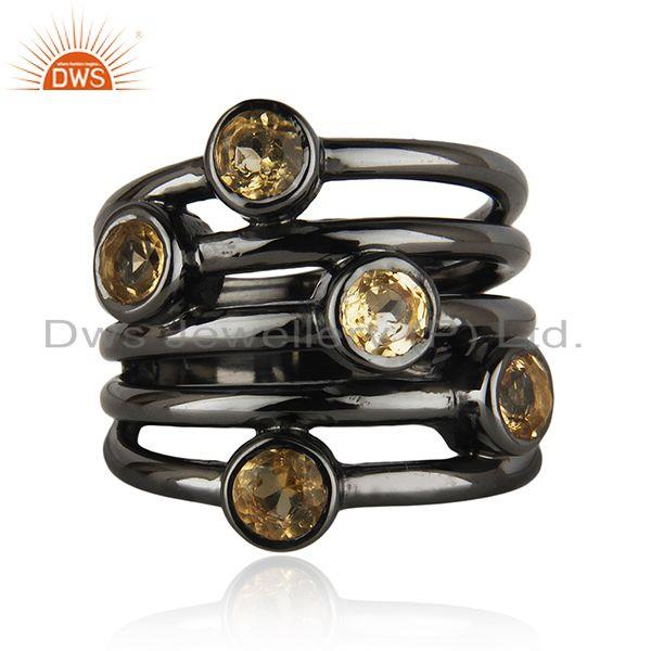Exporter 92.5 Sterling Silver Black Rhodium Plated Citrine Gemstone Statement Rings