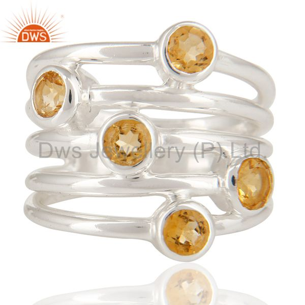Exporter 925 Sterling Silver Natural Citrine Round Cut Gemstone Ring