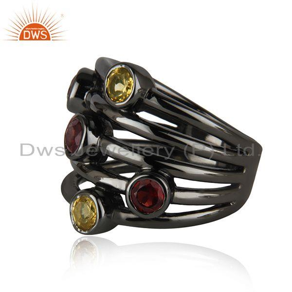 Exporter Natural Citrine and Garnet Black Rhodium Plated 925 Silver Statement Rings