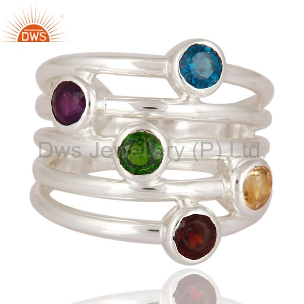 Exporter Designer 925 Sterling Silver Fine Multi-color Gemstone Ring Jewelry