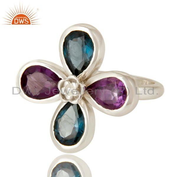 Exporter 925 Sterling Silver London Blue Topaz And Amethyst Flower Cocktail Ring