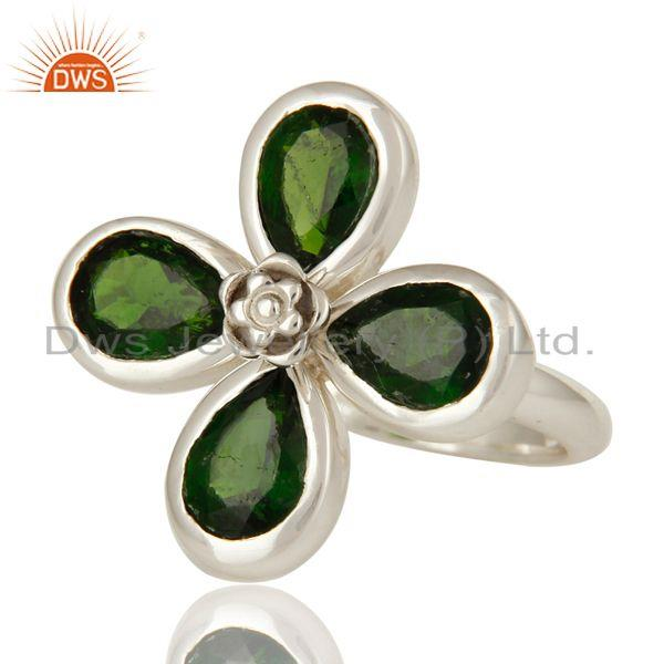 Exporter Natural Chrome Diopside 925 Sterling Silver Floral Cocktail Ring