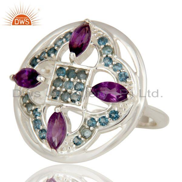 Exporter Amethyst And Blue Topaz Sterling Silver Cluster Cocktail Ring