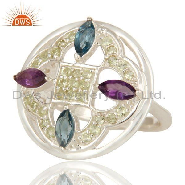 Exporter Amethyst, Peridot And Blue Topaz Sterling Silver Cluster Cocktail Ring