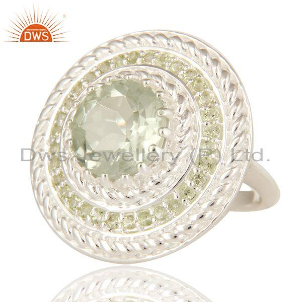 Exporter Green Amethyst And Peridot 925 Sterling Silver Gemstone Cocktail Ring