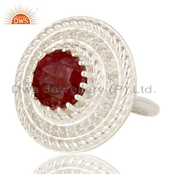 Exporter 925 Sterling Silver Dyed Ruby And White Topaz Gemstone Cocktail Ring