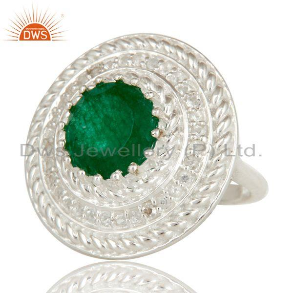 Exporter Green Aventurine And White Topaz Sterling Silver Cluster Cocktail Fashion Ring
