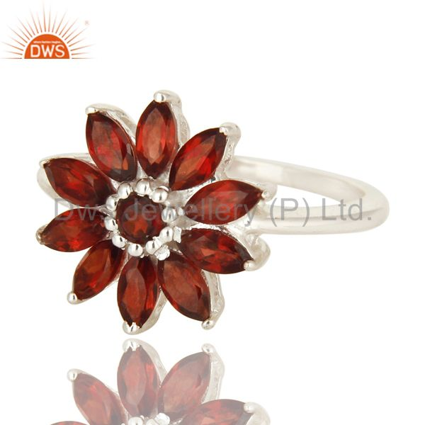 Exporter 925 Sterling Silver Natural Garnet Marquise Cut Gemstone Cluster Cocktail Ring