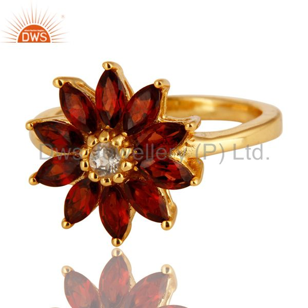 Exporter 14K Yellow Gold Plated Sterling Silver Garnet & White Topaz Floral Cocktail Ring