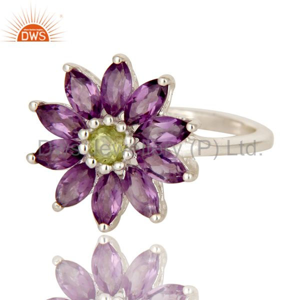 Exporter 925 Sterling Silver Amethyst And Peridot Gemstone Flower Cocktail Ring