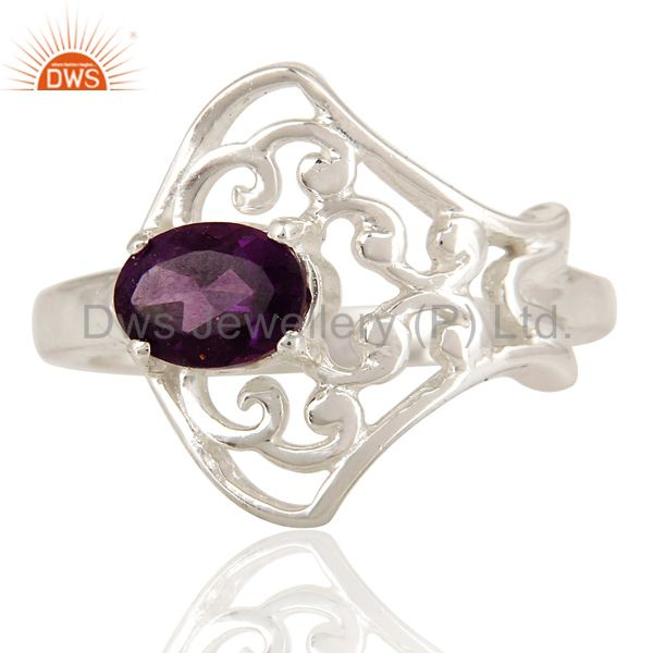 Exporter Natural Amethyst Gemstone Oval Cut Solid Sterling Silver Ring
