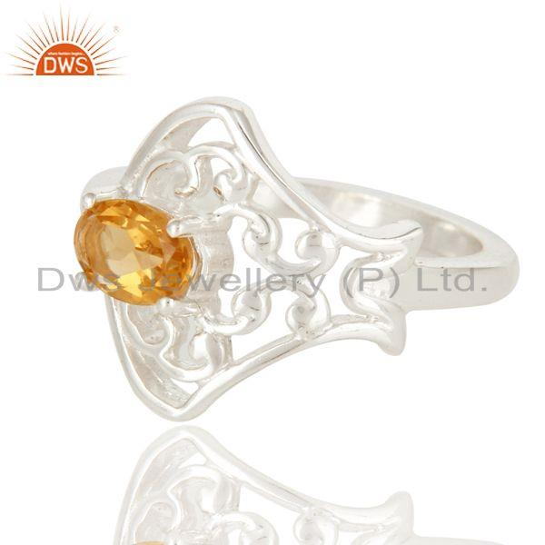Exporter 925 Sterling Silver Natural Citrine Gemstone Designer Ring