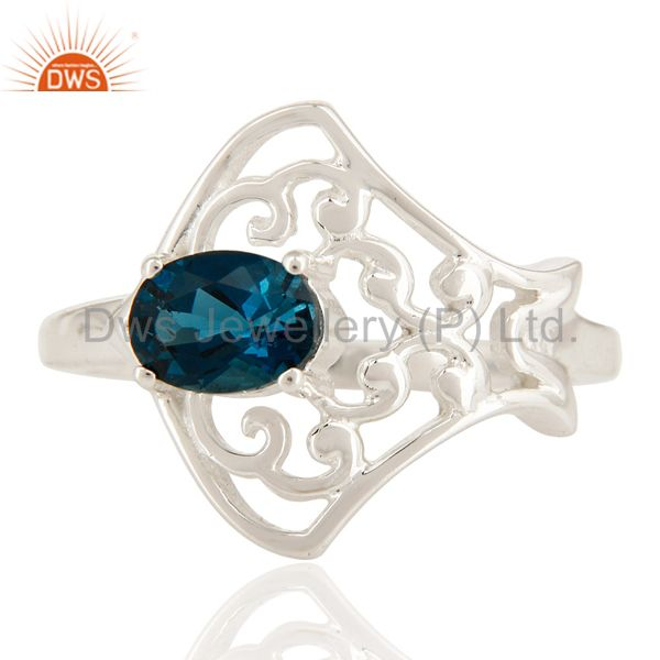 Exporter 925 Sterling Silver Natural London Blue Topaz Oval Cut Solitaire Ring