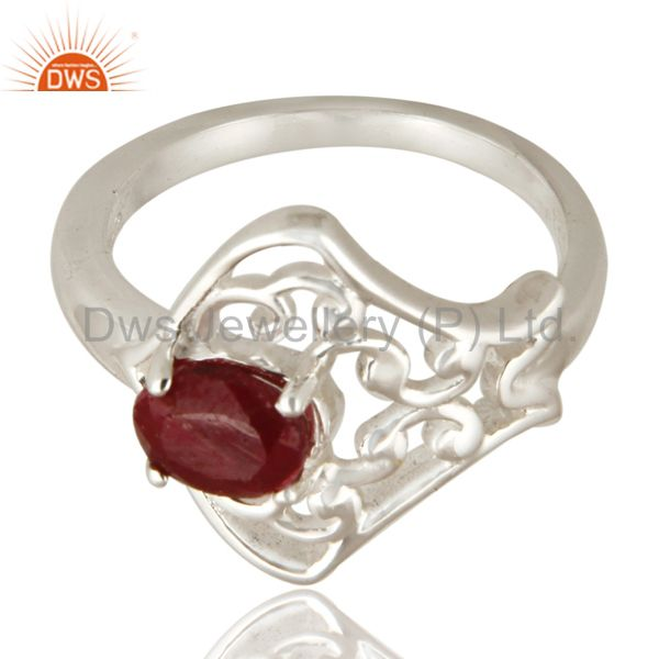 Exporter Natural Ruby Corundum Sterling Silver Solitaire Ring