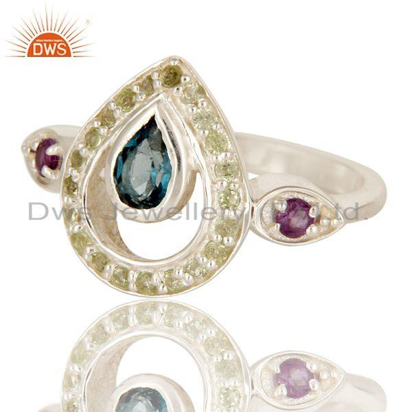 Exporter Amethyst, Blue Topaz And Peridot Sterling Silver Gemstone Statement Ring