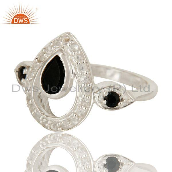 Exporter 925 Sterling Silver White Topaz And Black Onyx Gemstone Ring