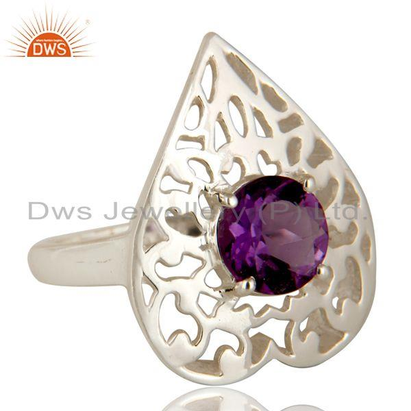 Exporter Natural Amethyst Round Cut Gemstone Sterling Silver Heart Design Cocktail Ring