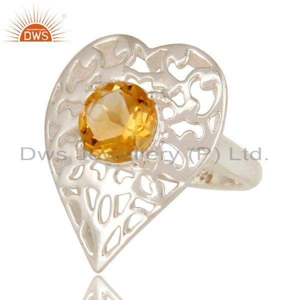 Exporter Designer Sterling Silver Natural Citrine Gemstone Cocktail Heart Ring