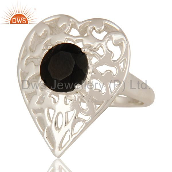 Exporter Natural Black Onyx High Quality Sterling Silver Heart Design Cocktail Ring
