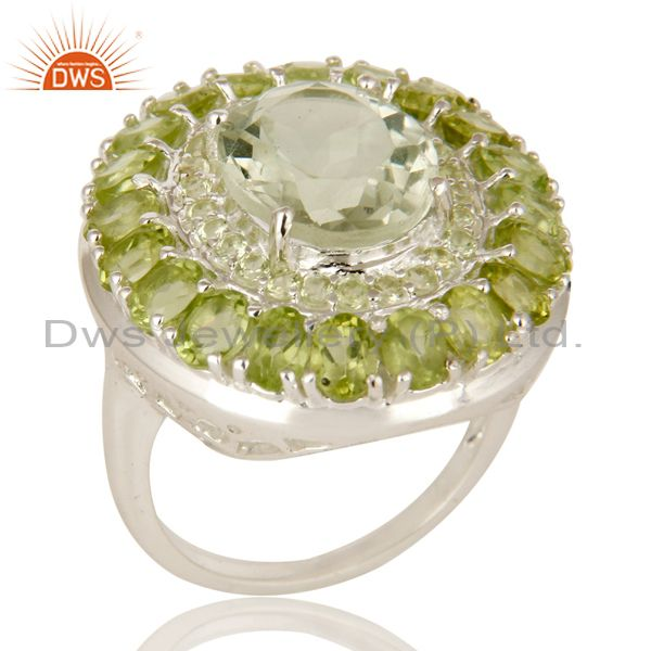 Exporter 925 Sterling Silver Green Amethyst And Peridot Cluster Statement Ring