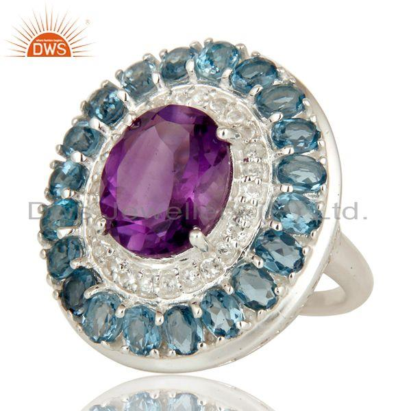 Exporter 925 Sterling Silver Amethyst And Blue Topaz Cluster Statement Ring