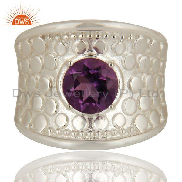 Exporter 925 Sterling Silver Amethyst Gemstone Solitaire Dome Ring