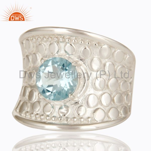 Exporter 925 Sterling Silver Blue Topaz Gemstone Prong Set Dome Ring