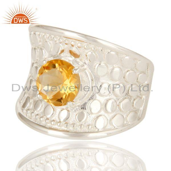 Exporter Natural Citrine Gemstone 925 Sterling Silver Dome Ring