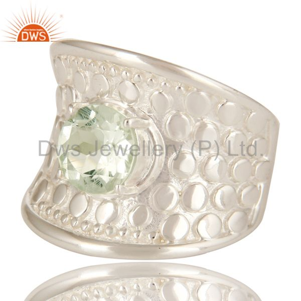 Exporter 925 Sterling Silver Green Amethyst Gemstone Prong Set Dome Ring