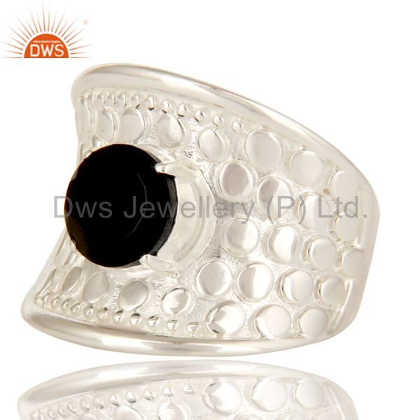 Exporter 925 Sterling Silver Prong Set Black Onyx Fine Gemstone Dome Ring
