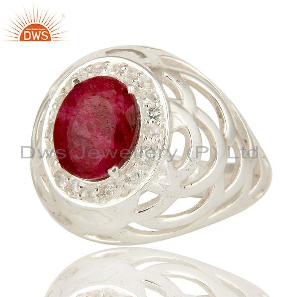 Exporter 925 Sterling Silver Prong Set Ruby And White Topaz Designer Ring