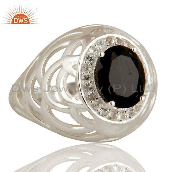 Exporter Natural Black Onyx Gemstone Sterling Silver Solitaire Ring With White Topaz