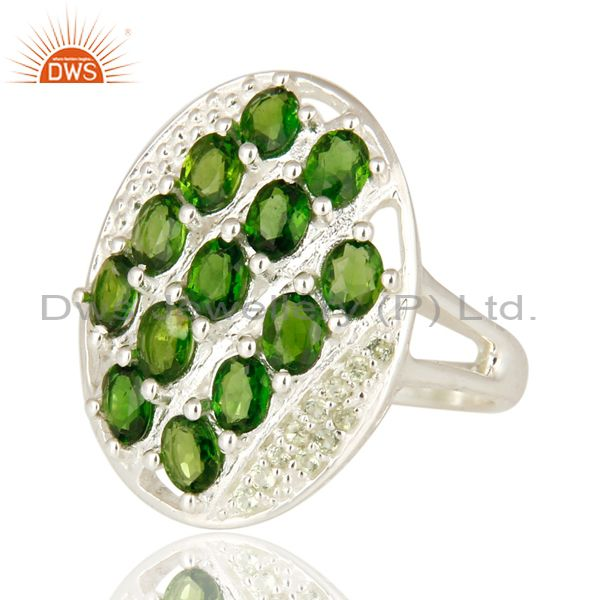 Exporter 925 Sterling Silver Peridot And Chrome Diopside Solitaire Ring